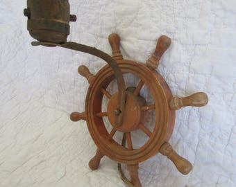 Vintage Nautical Wall Light with a Ships wheel Wood and Metal