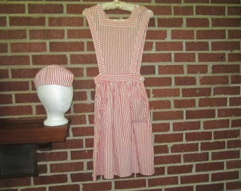 Vintage 1960s Candy Striper Volunteer Red and White Striped Cotton Pinafore and Cap