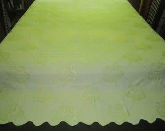 Vintage 1930s/40s Art Deco Cotton Rayon 79x96 Pale Yellow-Green Bedspread