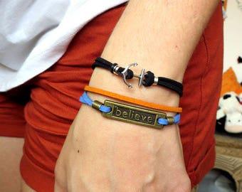 Men's bracelet, leather woman bracelet, believe, bracelet believe, UNISEX bracelet, for her, for him, gift,