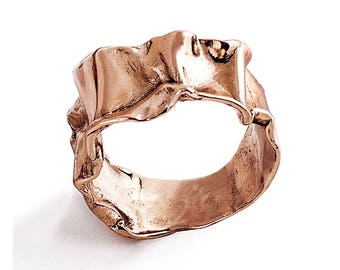 CRUMPLED 14k Rose Gold Ring for women, Unique Gold Ring, Rose Gold Wedding Band, italian fine jewelry