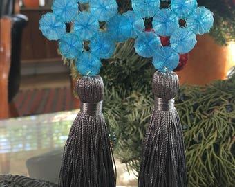Silver tassel earrings   Long earrings   Dangling tassel earrings   Blue prism crin   Blue and silver earrings
