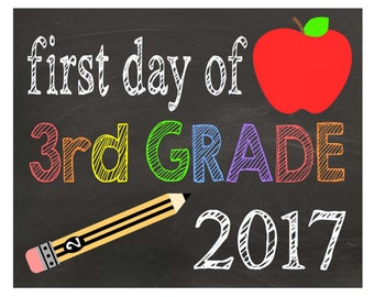 Third Grade| First Day of Schoo| Chalkboard Sign| Back to School Sign| Printable PDF| Instant Download| Boys| Girls| Photo Props