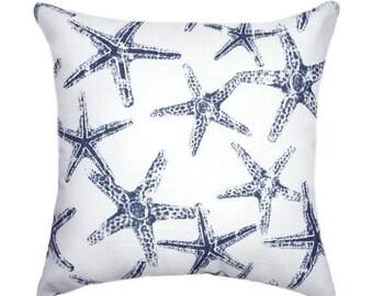 Navy Blue STUFFED Throw Pillow, Nautical Pillow, Starfish Pillow, Nautical Decor, Beach Decor, Sea Friends Pillow, Navy Pillow - Free Ship