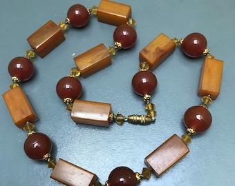 Vintage  Butterscotch Bakelite Necklace . Carnelian Glass . Art deco Jewelry