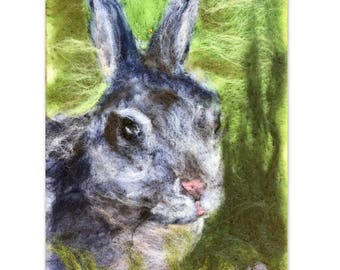 Rabbit Needle Felted Wool Painting 6x9