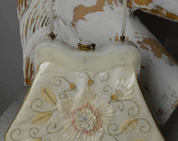 sale Vintage Purse, 50s Purse, Vintage Handbag, Kitsch Hand Bag, Lucite Handbag, Picture Window, Summer Purse, Rockabilly Purse, Pin Up Purs