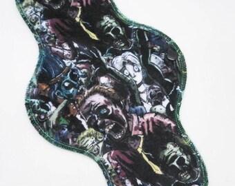 "11.5"" Moderate Cloth Pad, Minky Cloth Menstrual Pad, Zombies Minky, Windpro Fleece MotherMoonPads Day Pad, Light Incontinence Pad"