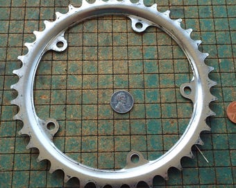 "Bicycle Sprocket. chrome, 6 1/2"", old bike parts, industrial, great for found art metal sculpture,"