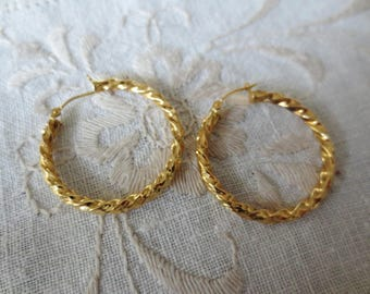 18K Hoop Earrings Twist Yellow Gold Vintage Estate Fine Jewelry NOS