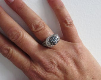 Diamond 10K White Gold Ring Blue Colorless Gemstone Pave Set Vintage Estate Fine Jewelry April Birthstone Genuine Size 7