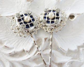 Rhinestone Bobby Pins Silver Blue Pearl Filigree Set Pair Handmade Upcycled Hair Accessory (2)