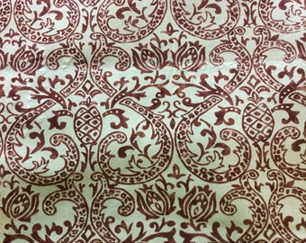 Mint Green and Brown Paisley Pineapple Minky Cuddle Fabric by the yard - SALE