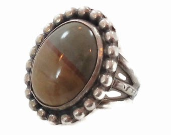 Picture Jasper Ring, Sterling Silver, Vintage Ring, Silver Ring, Jasper Ring, Vintage Jewelry, Size 6 1/2, Handcrafted, Stone Ring, Brown
