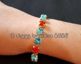 Crystal Bracelet - Turquoise, Red Swarovski Crystals - 8 mm stone size