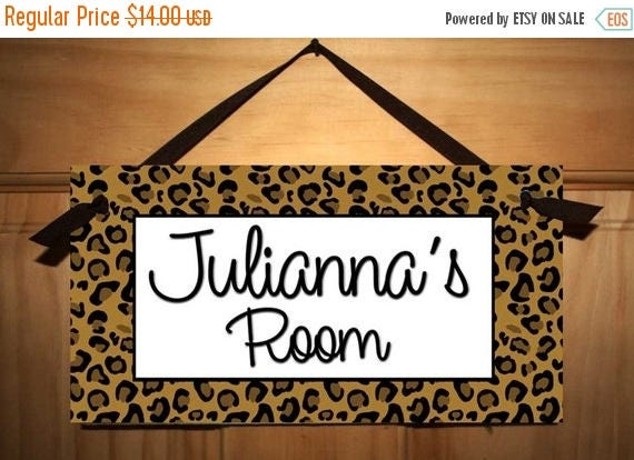 MEMORIAL DAY SALE Leopard Prints Kids Bedroom Baby Nursery Door Sign Wall Art - Colours Can Be Changed Ds0340