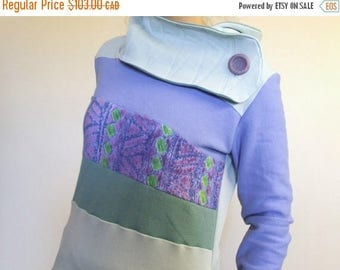20% SALE Hoodie Sweatshirt Sweater Handmade Recycled Upcycled One of a Kind AWESOME Ladies SMALL - Periwinkle Pastel Purple Pockets