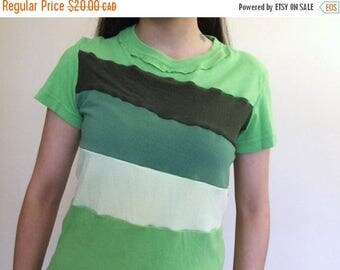 20% SALE Color Block T-shirt - Handmade Ladies Size SMALL Greens Recycled Upcycled