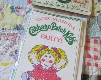 Unopened Package of 8 Vintage 1983 Cabbage Patch Kids Party Invitations