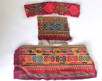 Vintage Afghan Embroidery Fabric Textile Pieces Scraps | Ethnic Tribal Textiles Crafts Quilting | Bohemian Boho Swatches Remnants Kuchi