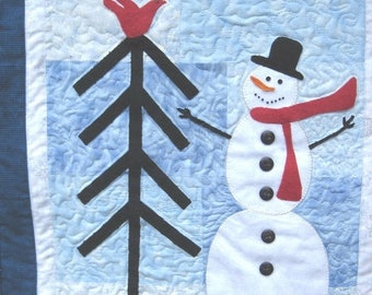 Summer Sale Quilted Snowman Wall hanging  Winter wall art Applique on blue
