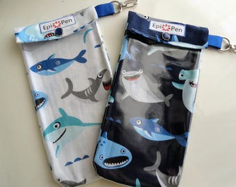 Shark Epi Pen Pouch (1) with Clear Pocket and Clip Holds up to 2 Allergy Pens, ID Card - 3 Sizes Available in White or Navy