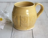Large Stoneware Coffee Mug in Cheerful Yellow Glaze Handmade Pottery 18 oz. Made in USA Ready to Ship