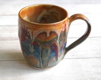 Stoneware Pottery Mug with Artful Dripping Multi Colored Glazes Handmade Coffee Cup 13 oz. Ready to Ship Made in USA