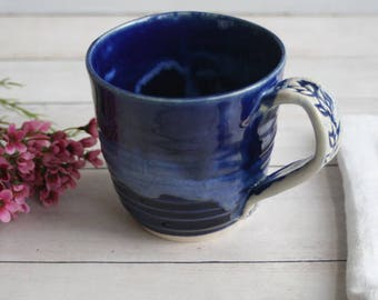 Rustic Cobalt Blue Mug Handcrafted Pottery Mug Wheel Thrown Coffee Cup Ready to Ship Made in USA