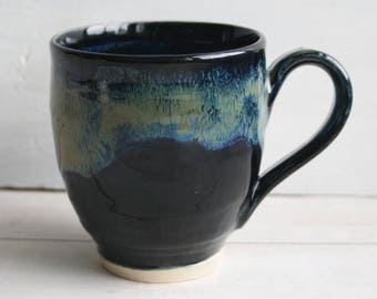 Stoneware Mug with Dripping Blues over Black Glazes Handmade Stoneware Coffee Cup Made in USA Ready to Ship