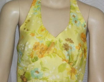 ON SALE Vintage 1970's Yellow Halter Sundress Sun Dress Medium Size 10