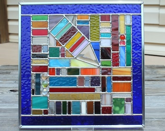 Multicolored Square Geometric Stained Glass Window Panel