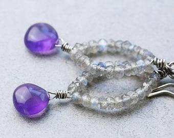 Amethyst Labradorite Earrings | Amethyst Earrings | February Birthstone Earrings | February Birthday | Labradorite Jewelry | Boho Earrings