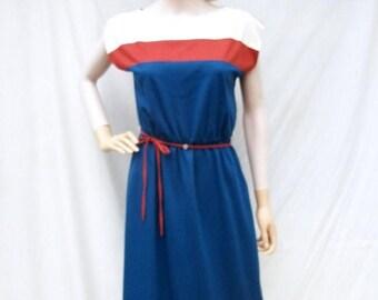 SALE 70s 80s Teal Knit Dress size Small Medium Melissa Lane