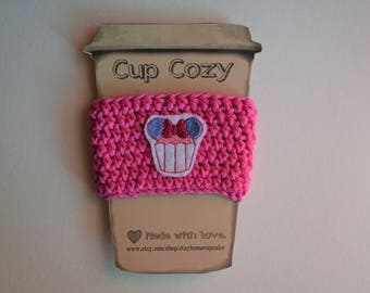 Crocheted Cup Cozy- Pink with Minnie Mouse Cupcake