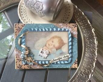 Handmade Baby Boy Card - Welcome New Baby Card