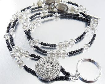 Badge Lanyard, ID Holder, Credential Necklace - Black and Smoky Crystal Glass with Silver and Crystal Accents