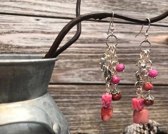 Pink cluster earrings #17dec840