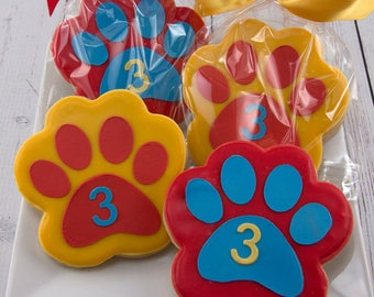 Paw Print Cookies, Puppy Dog Cookies - 15 Decorated Sugar Cookie Favors