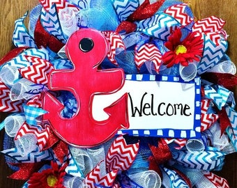 SALE & FREE SHIPPING Anchor Welcome Sign Floral Red White Blue - Door Wreath!