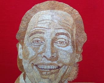 Billy Crystal Hollywood star, comedian. Portrait done with rice straw. Handmade with dried leaves of rice plant. Have U seen ancient art?