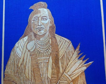 Indian chief portrait handmade with rice leaves. Have U seen ancient rice straw art.museum quality art. Unique collectible. Only one made.