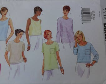 Butterick 5948 Sewing Pattern Misses' Woman's Tops, Long And Short Sleeve Tops, Easy Sewing Patterns, Size 20, 22, 24  UNCUT