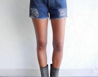 40% SUMMER SALE Charcoal Waxed Levi's Cut-off Shorts