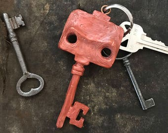 Robot Skeleton Key Keychain - hand cast resin