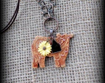"Show Steer, Heifer Kiln Fired Pottery Pendant, Cattle Jewelry, Livestock & Chain  Necklace, Approx 27"" (end to end)"
