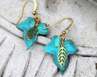 Petite Aqua Verdigris Patina and Gold Bohemian Leaf Earrings