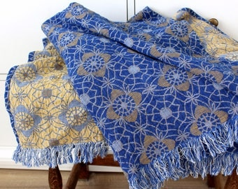 Blue Linen Blanket Throw/ Couch Cover/ Sofa Coverlet/ Linen Cotton Picnic Blanket with Fringe in Flower Pattern/ Bohemian Bed Cover Throw