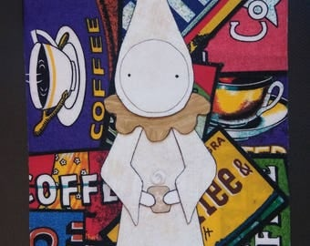 "Coffee Poppet - Fabric Art Original - ""Cappuccino""    A  Poppety Collaboration"