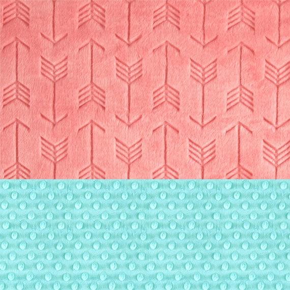 Crib Blanket 42 x 55 Minky Blanket Girl,  Coral Arrow Personalized Baby Blanket Crib size // Coral Baby Blanket // Custom Blanket
